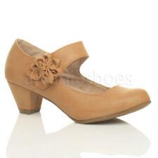 Zapatos de tacón de mujer de tacón medio (2,5-7,5 cm) de color principal marrón Talla 39