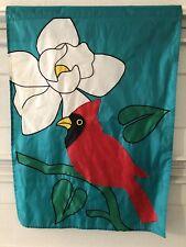 "Spring Summer Cardinal Flower Turquoise Outdoor Garden Flag 38"" x 27"" Nylon"