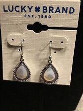 Lucky Brand Silver Tone imitation Pearl Teardrop Hanging Earrings, NWT