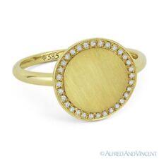 0.10ct Round Cut Diamond 14k Yellow Gold Right-Hand Brushed-Finish Fashion Ring