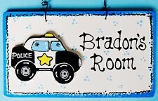 U Choose Name Personalized Police Car Kid's Room Door Wall Decor Squad Plaque