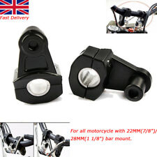 "NEW 7/8"" 22mm 1 1/8"" 28mm Motorcycle HandleBar Fat Bar Mount Clamps Riser Black"