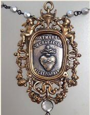 FRENCH Bronze Frame SACRED HEART Montmarte Necklace ANGEL CROSS Paris