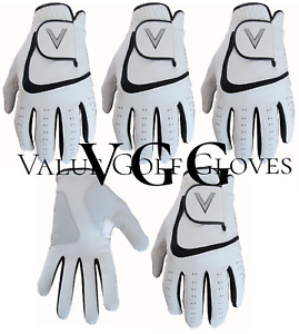 5 Mens Golf Gloves All Weather Golf Gloves Cabretta Leather Palm Patch V Logo