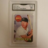 1969 Topps #500 Mickey Mantle Reprint Graded GMA 10