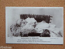 R&L Postcard: Real Photo of Baby in Christening Gown, Hay Wicker Basket