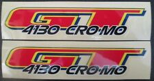Set of 2 Authentic GT 4130 CROMO Sticker Decals/bmx/frame/fork/RED/YELLOW/BLUE