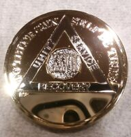 27 YEAR AA GOLD/SILVER Tone Bi-Plated Alcoholics Anonymous CHIP COIN MEDALLION