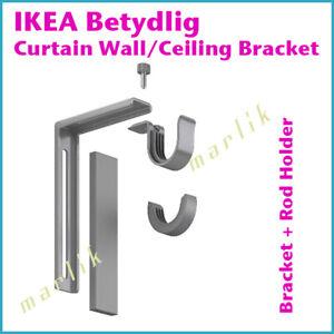 NEW IKEA BETYDLIG Wall Ceiling Bracket Rod Holder Silver Gray 102.198.90