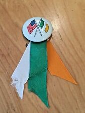 Vintage Antique Irish St. Patrick's Day IRELAND Flag Pinback Button w/ Ribbons