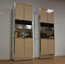 Pair Ello Modern Chrome Bar Cabinets