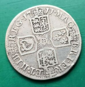 1711 Queen Anne silver shilling coin #244