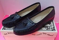 Womens SAS Softie Navy Black Shoes 8.5 S Tassels Comfort Slip On Loafers New