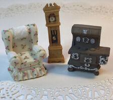 Pricilla Hillman Enesco Miniature Couch, Grandfather Clock & Stove Set