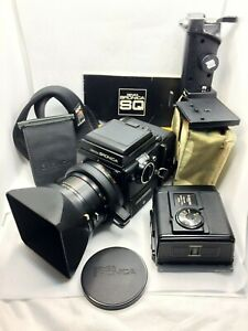 NEAR MINT BRONICA SQ-A w/80mm lens, grip, 2 film backs, BW filter, strap, + more