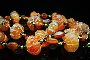 RARE Antique Unique Carnelian Squash Flower Carved Old Middle East Bead Necklace