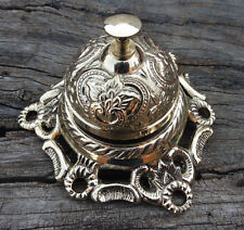 Vintage Brass Reception Desk Service Bell Ornate Call Ringer School Office Bell