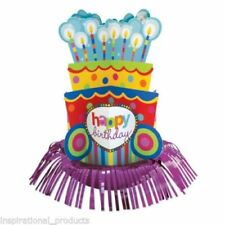 "Amscan HUGE 13"" HAPPY BIRTHDAY Dots and Stripes Fringe Table Centerpiece Party"