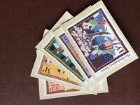 F1g postcard unused royal mail stamp cards x 5 christmas 1986 lynda gray