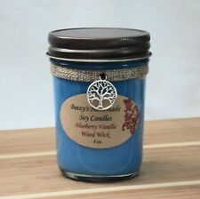 8 oz. Blueberry Vanilla Handmade Natural Soy Wax Wood Wick Blue Candle