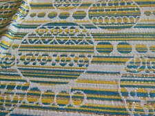 B2 ancien tissu  petit coupon tissu argenté bleu jaune 47 sur 30 cm année 50