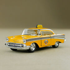 New York Style 1957 Chevrolet Bel Air Yellow Checker Taxi Cab Die-cast Model Car