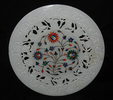 """9"""" Marble Plate Carnelian Inlay Lapis Marquetry Floral Grill Decorative Gifts"""