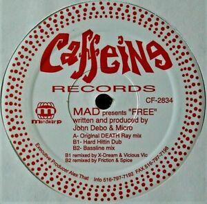"MAD ""FREE"" 1996 VINYL 12"" SINGLE 3 MIXES BREAKBEAT CAFFEINE CF-2834 ~RARE~ HTF"