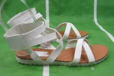 NEW Lady Summer White Womens Shoes ANKLE STRAP open toe Sexy Sandals Size 6