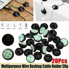 20X Cable Clips Tidy Cord Lead Desk Organiser USB Charger Holder Self-Adhesive