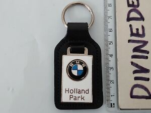 Vintage Leather BMW Holland Park Dealer Keyring Rare Badge