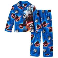 Boys STAR WARS Sz 4 PAJAMAS Fleece Shirt Pants OUTFIT Winter Pjs FORCE AWAKENS