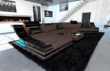 Wohnlandschaft TURINO CL Couch Luxus Stoff XXL Designer Sofa LED Beleuchtung