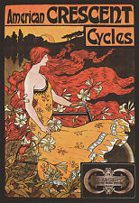 """1899 Vintage Bicycle Posters, Crescent Cycle, BIKE, Advertisement 16""""x11"""""""