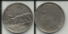 REGNO D'ITALIA VITT. EMANU. III RARO 50 CENTESIMI 1924 LEONI (RIGATO)
