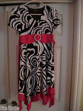 YOUNG GIRL DRESS WHITE, BLACK  AND PINK  TIGHTBY MYMICHELLE SIZE 16 NWOT