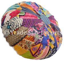 Indian Vintage Mandala Kantha Ottoman Pouf Cover Patchwork Round Floor Pouffe