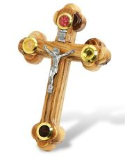 Wall Cross of Olive Wood with Crucifix Catholic from Jerusalem 5.5 inch