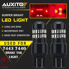 2 PC AUXITO 7443 7440 Brake Tail Stop Light Red Flash Strobe Blinking LED Bulb A