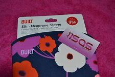 BUILT NY NEOPRENE SLEEVE FITS IPAD IPAD2 W/ SMART COVER ALL MODELS LUSH FLOWER