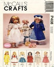 McCall's Doll Clothes Package Pattern P408 Size 18