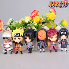 HOT Anime Naruto Set of 6x Figures Dolls Keychains Keyrings Pendant Cosplay Gift