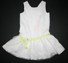 New Girls Size 6 Gymboree Floral Embroidered Organza Dress White W/Bow NWT