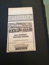 d4-1 ephemera 1970 advert tesco provisions manager thanet area