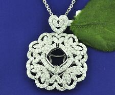 18k Solid White gold Natural Diamond  flower pendant cushion Semi mount 2.40 ct