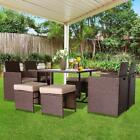 9 Pieces Rattan Wicker Patio Furniture Dining Set Garden Sofa Table With Cushion