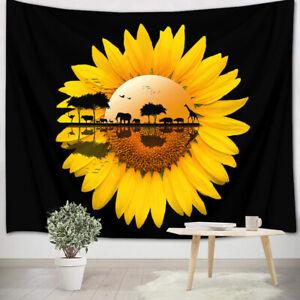 Sunflower African Animal Lakeside Tapestry Wall Hanging Living Room Bedroom Dorm