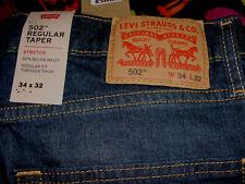 Men's New 34 x 32 Levi's 502 Dark Faded Wash Regular Fit Taper Leg Stretch Jeans