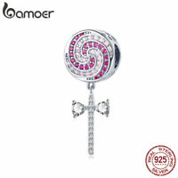 BAMOER S925 Sterling silver Women Charms Sweet lollipop & CZ Dangle Fit Bracelet