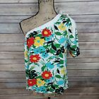 NWT Porridge Women's One Shoulder Knit Top Large White Red Green Floral